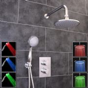 Thermostatic 2 Way Shower Valve | 2 Round Handles with Round LED Overhead Shower Drencher & LED Handset | EcoSpa®